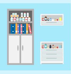 Vet bottles and drugs in cabinet chest of vet vector