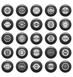 vintage badges and labels icons set vetor black vector image