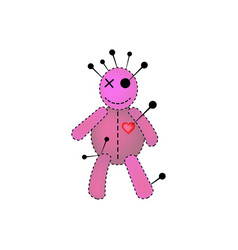 voodoo doll halloween concept icon pink fabric vector image