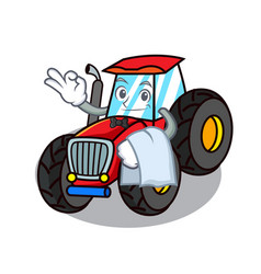 Waiter tractor mascot cartoon style vector