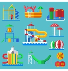 Water amusement aquapark playground with slides vector