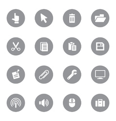 Web icon set 3 on gray circle vector