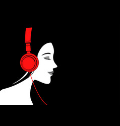 woman listening to music with headphone vector image