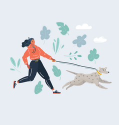 woman running with dog on vector image