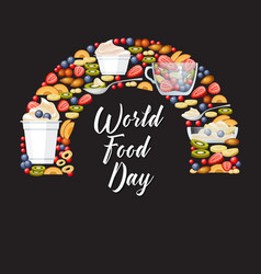 World food day fruits and desserts vector