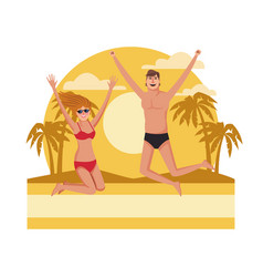 young people jumping at beach vector image