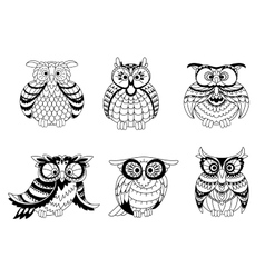 Black and white owls outline silhouettes vector image vector image