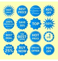 Blue seals-stickers set vector image vector image