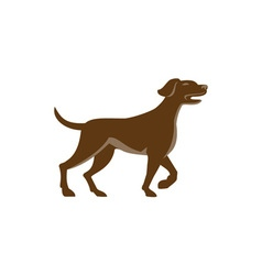 English Pointer Dog Pointing Up Retro vector image