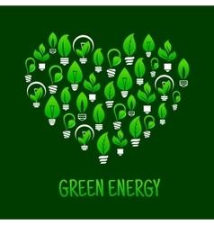 Saving energy symbol with heart and light bulbs vector image vector image