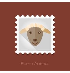 Sheep flat stamp Animal head vector image vector image