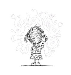 Girl draws flowers on the wall sketch for your vector image