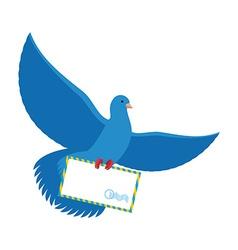 Postal pigeon Blue Dove with envelope Blue Bird vector image