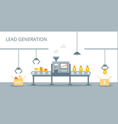process of leads production on the conveyor belt vector image vector image