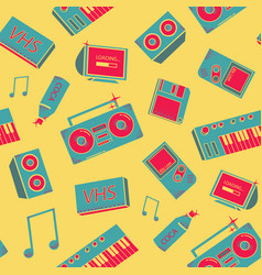 seamless pattern with old school things vector image vector image