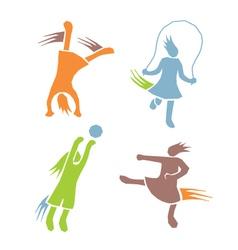 Active girls fitness sports set 2 vector