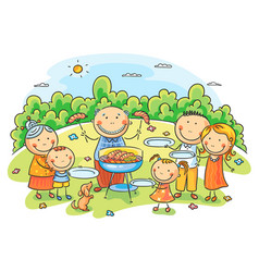 big family having picnic vector image vector image