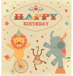 Birthday card with circus animals vector image vector image