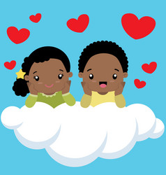 black boy and girl on cloud valentines day card vector image vector image