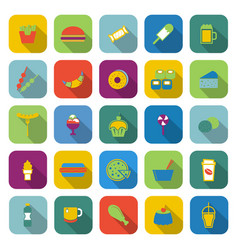 fast food color icons with long shadow vector image