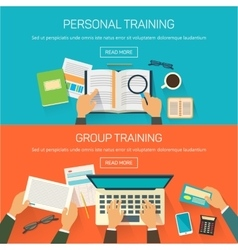picture of group training and working in a vector image