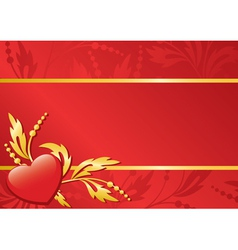 red floral card with heart vector image vector image