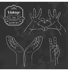 Vintage chalkboard hand sign set vector image