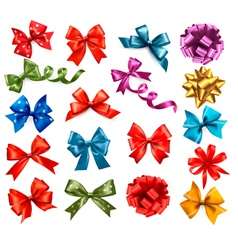 Big collection of color gift bows with ribbons vector image vector image