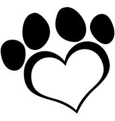 Black Love Paw Print vector image vector image