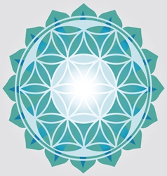 Flower of Life blue design vector image