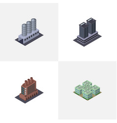 Isometric architecture set of water storage tower vector