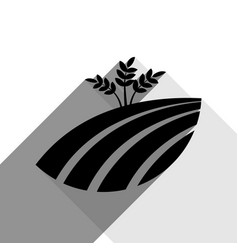 wheat field sign black icon with two flat vector image