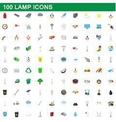 100 lamp icons set cartoon style vector image