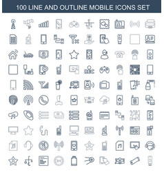 100 mobile icons vector image