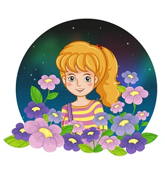 A pretty girl and the flowers vector image