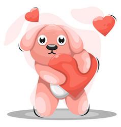 Adorable dog with love cartoon vector