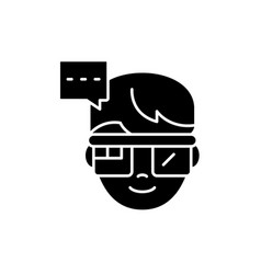 augmented reality vision glasses black icon vector image