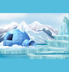 Background scene with igloo on ice vector