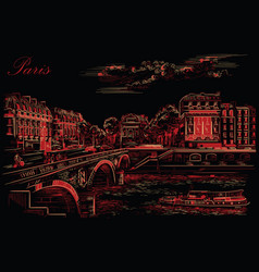 black and red hand drawing paris 7 vector image