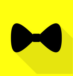 bow tie icon black icon with flat style shadow vector image