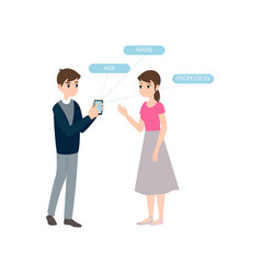 boy meet girl show smartphone personal information vector image