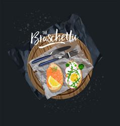 bruschetta with salmon and bruschetta with egg vector image