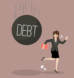 Business woman run away from heavy debt vector