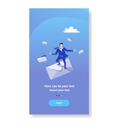 Businessman standing envelope papper letter vector