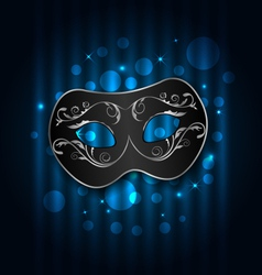 carnival or theater mask on blue shimmering vector image