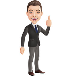cartoon businessman showing thumbs up sign vector image