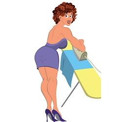Cartoon woman in purple dress ironing vector image