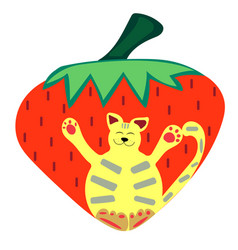 Cat-berry vector