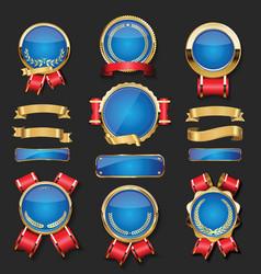 collection gold and blue badges labels laurels vector image