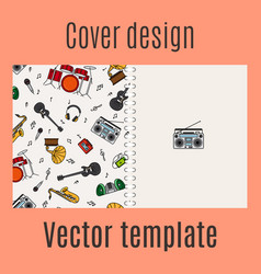 Cover design with music instrument pattern vector